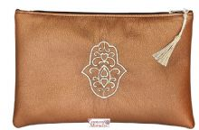 "Moroccan Pouch Clutch Bag with Hasma Design. Handmade Metallic Bronze Large 28cm x 18cm / 11"" x 7.4"""